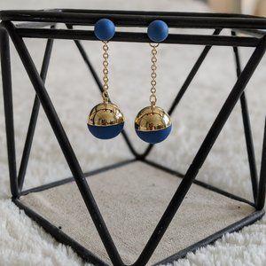 Lulu Blue and Gold Drop Earrings